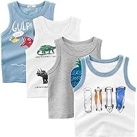 Guozyun 4Pack Baby Boy's Tank Tops Sleeveless T-Shirts Undershirt Cami Shirts for Toddler Kids Little Boy