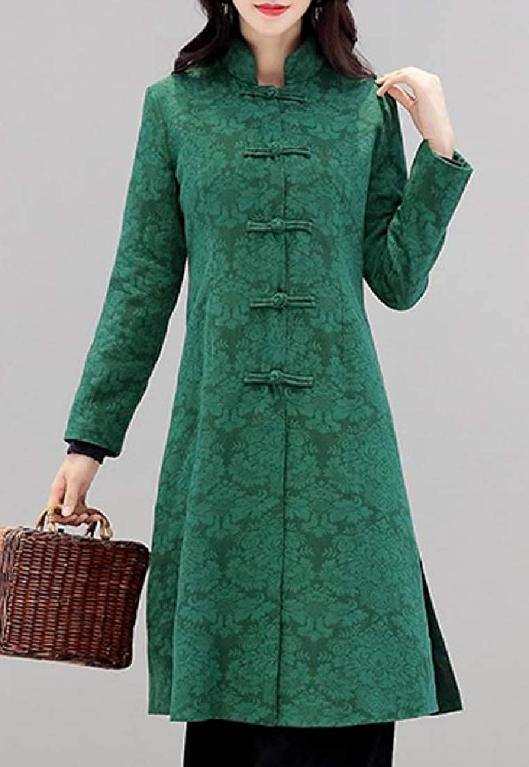 Whitive Women Windproof Slim Casual Linen Blend Ethnic Style Overcoat