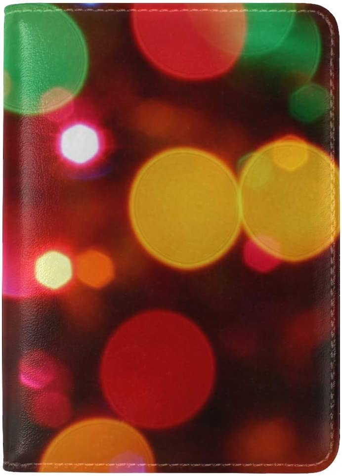 JiaoL Colorful Circles Pixels Light Leather Passport Holder Cover Case Travel One Pocket