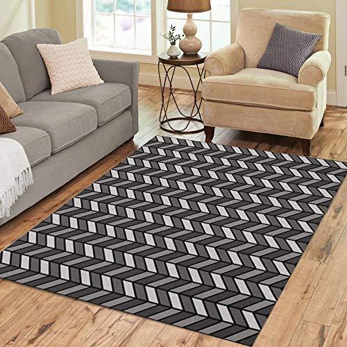 Pinbeam Area Rug Chevron Herringbone Pattern in Black and Gray Tweed Home Decor Floor Rug 2' x 3' Carpet