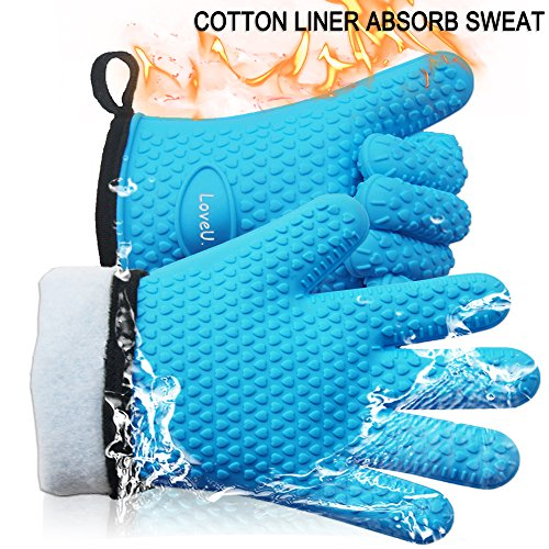 Loveuing Gloves-001 Oven Gloves-Silicone and Cotton Double-Layer Heat Resistant, One Size Fits Most, Blue by Loveuing