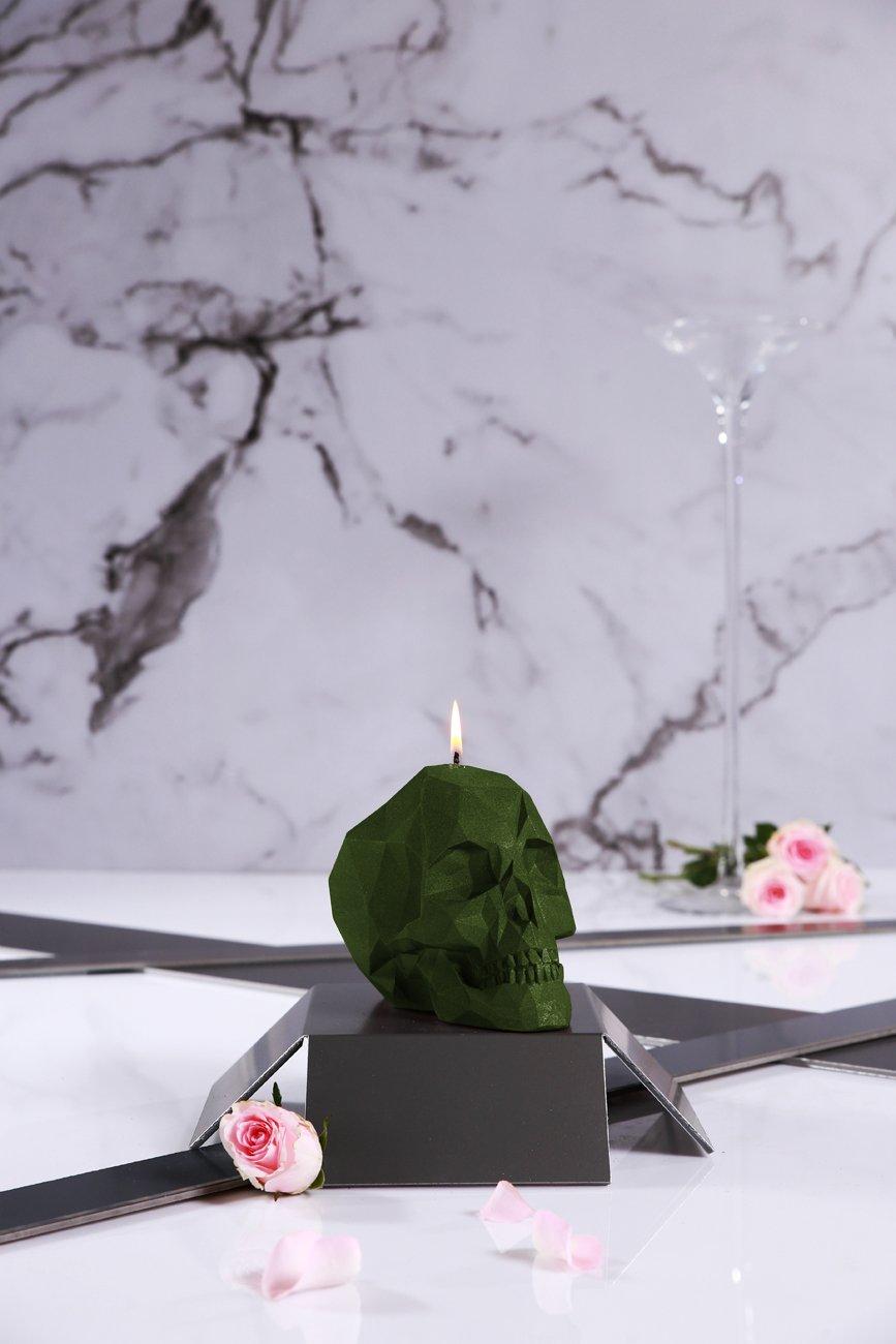 Candellana Candles Candellana- Skull Poly Candle-Dark Green,