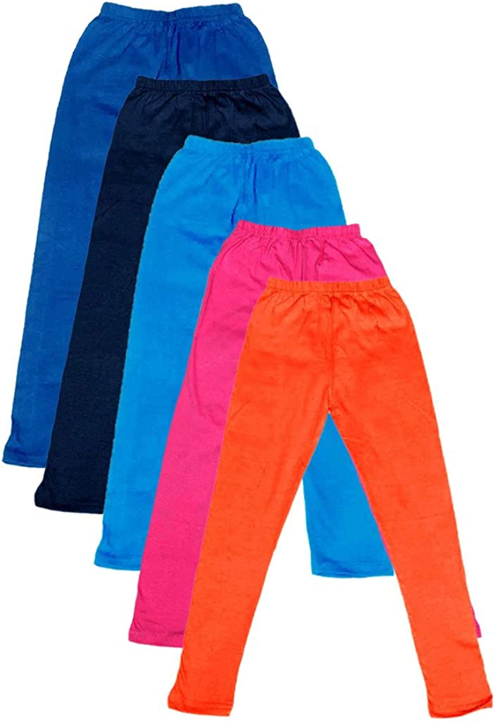 Indistar Big Girls Cotton Full Ankle Length Solid Leggings Pack of 5 -Multiple Colors-11-12 Years