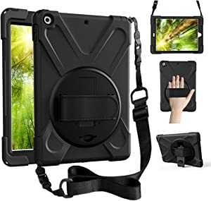 ZenRich iPad Air 1 case, iPad 9.7 Case 2013, 360 Rotating Kickstand Hand Strap & Shoulder Belt zenrich Shockproof Heavy Duty Rugged Case for iPad Air 1st 9.7 inch Tablet 2013 Released