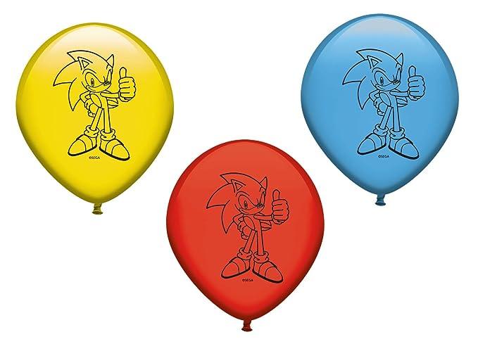 Verbetena, 016001416, pack 8 globos sonic, pack 8 globos decoracion fiestas sonic