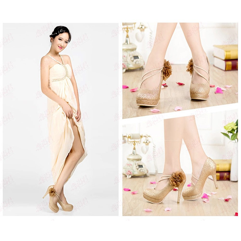 XUERUI Damenschuhe High-Heeled Strap Strap Strap Cosy Turnschuhe mit Gold Schuhe Pumps (größe   EU37 UK4.5-5 CN37) d96ffe