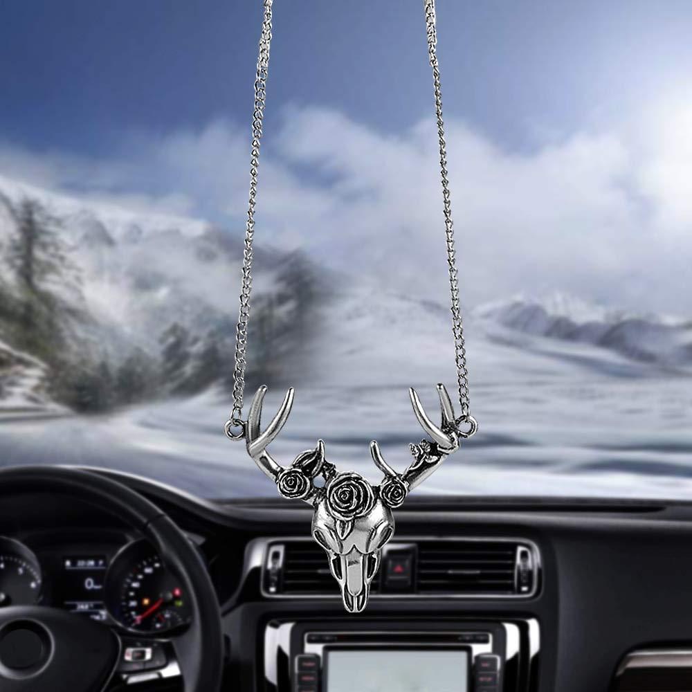 Bingo Point Car Pendant Metal Skull Goat Head Black Rose Decoration Talismans Handing Ornament Automobiles Interior Rearview Mirror Decor