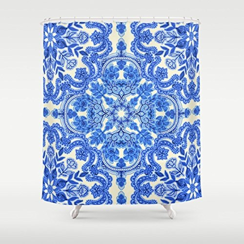 Cobalt Blue & China Whit Shower Curtain