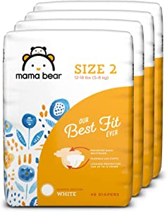 Amazon Brand - Mama Bear Best Fit Diapers Size 2, 184 Count, White Print (4 packs of 46) [Packaging May Vary]