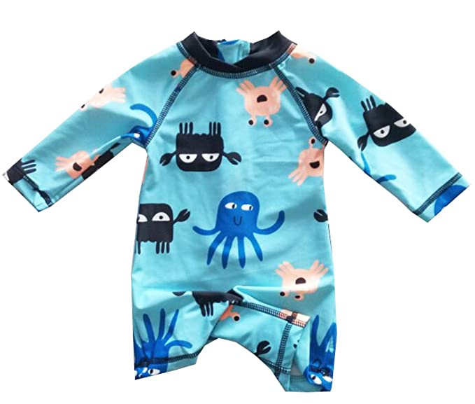 eKooBee Infant Baby Boys Rash Guard Swimsuit Octopus Long Sleeve Swimwear