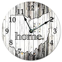 OHIO STATE HOME CLOCK Black and White Rustic Clock - Large 10.5 Wall Clock