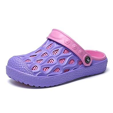 Gaatpot Damen Pantoletten Leder Sandalen Slip on Clogs Hausschuhe Sommer Freizeit Schlappen Schuhe mit Keilabsatz Violett 37 YgAmxnP
