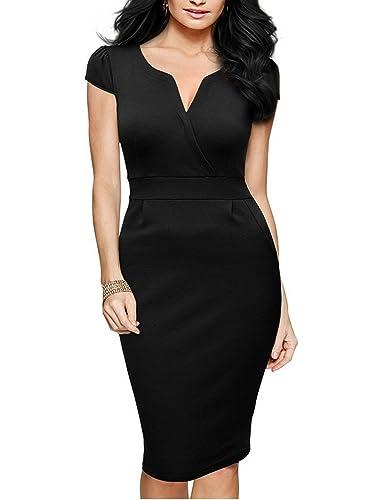 MABELER Women's Retro V Neck Cap Sleeve Wear to Work Bodycon Pencil Dress