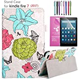 Amazon Fire 7'' 2017 Case, EpicGadget(TM) 7th Generation Fire 7 Premium PU Leather Folding Folio Case with Built in Stand For Fire 7 inch (2017) + 1 Screen Protector + 1 Stylus (Flower Painting)