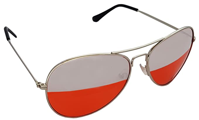 Red And Silver Duel Lens Aviator Sunglasses Red Tint Silver Frame ...