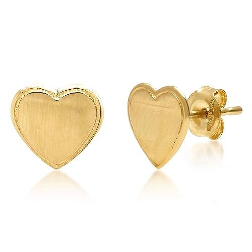 14k Yellow Gold Flat Heart Stud Earrings