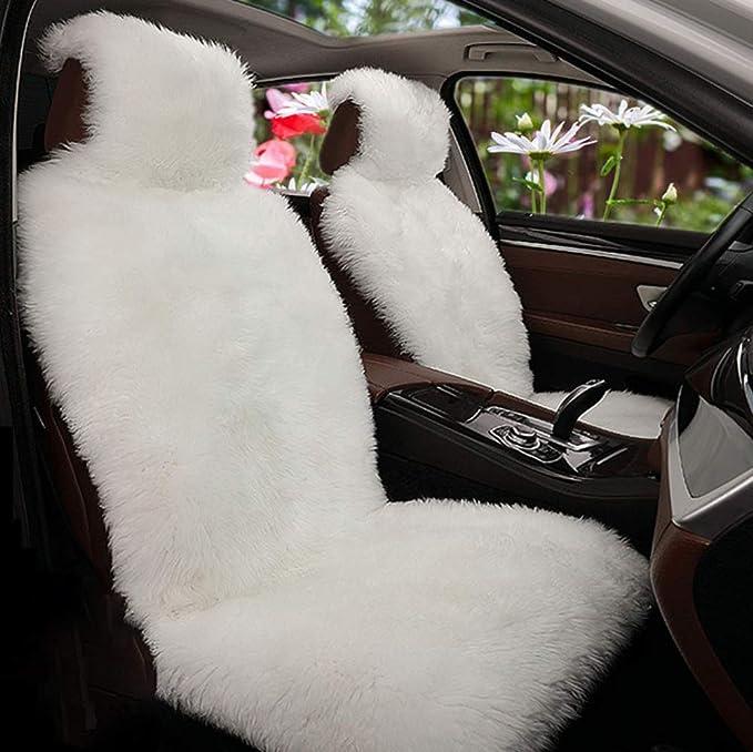 Sarah Duke 1 Stück Lammfell Vordersitzbezug Universal Sitzauflage Autositzbezug Lammfellbezug Auto Sitzbezug Autositzauflage Weiß Auto