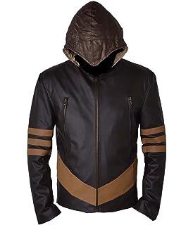 Hommes Veste motard vintage noir marron en cuir véritable X-men ... 1f27789fa854