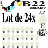 Lot de 24 ampoules Led B22 1W Guirlande Blanc chaud 3000k Incassables (équivalence 15W)