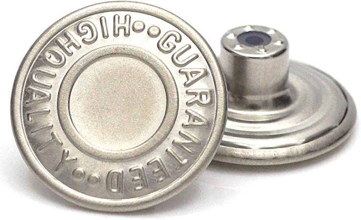 20mm Replacement Jean Tack Buttons GHQ No Sew Metal Buttons 12 Set