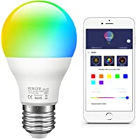Minger Colour Changing Light Bulb E27 Dimmable, 7W Sync to Music RGBW Color LED Light Bulb with APP, Dimmable Multi-Color Bulbs for Home Decoration Bar Party KTV Stage Holiday Bedlamp