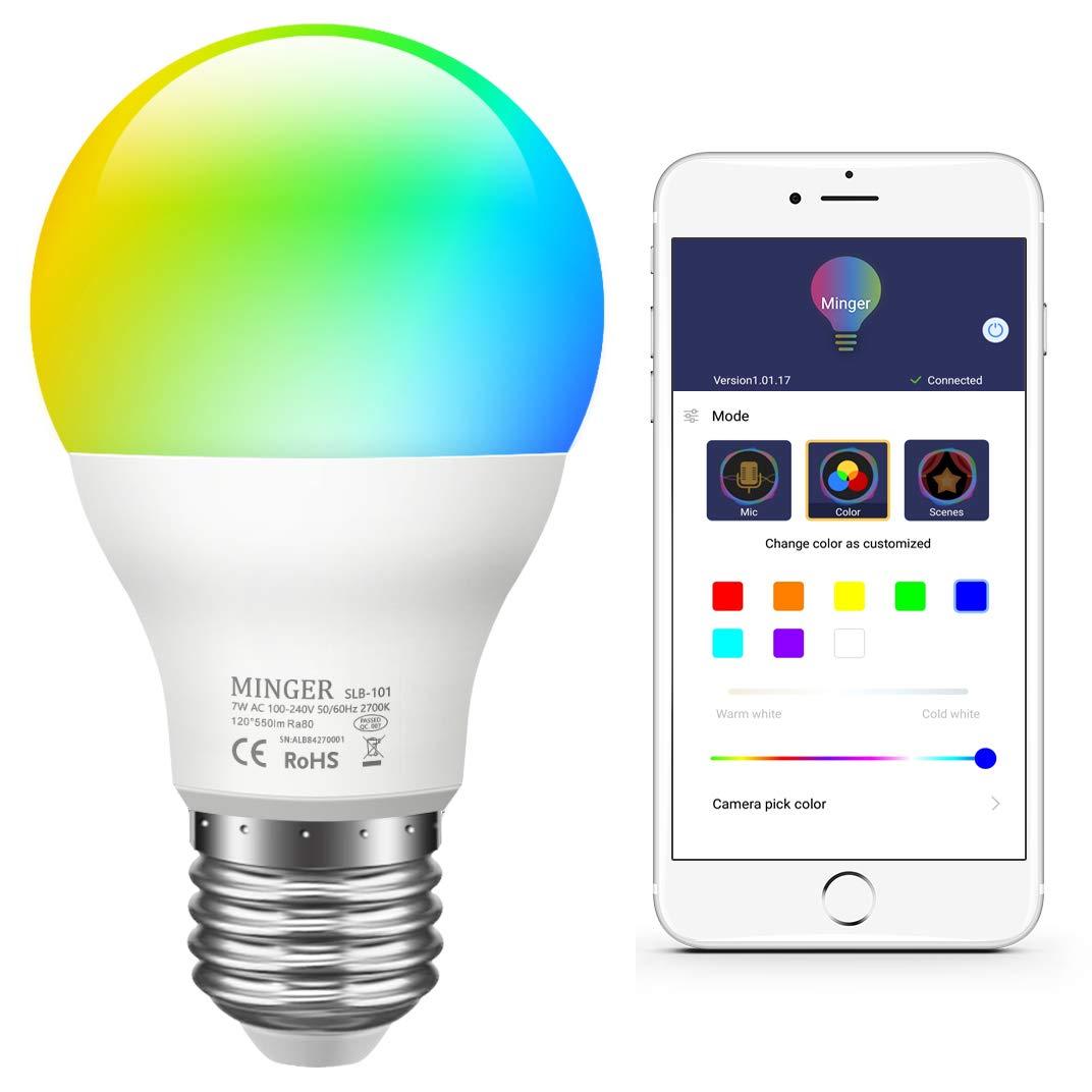 Bombilla RGBW Bluetooth, Minger E27 7W Lá mpara Bombilla LED Color Ajustable, Temporizador/Retraso Control de APP, Compatible con IOS, Android Smartphones etc. Minger E27 7W Lámpara Bombilla LED Color Ajustable