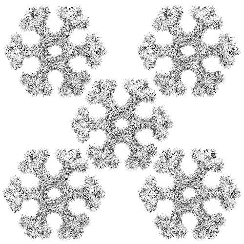 Cosaving Silver Tinsel Snowflake Ornaments Wall Decoration Christmas Tree Top Hanging Outdoor Party Decor Supplies, 12x12 inch, 5 PCS, Snowflakes (Decorations Hanging Outdoor Wall)