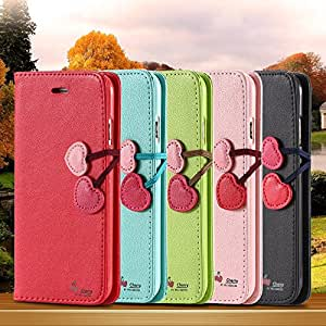 Lovely Cherry Wallet Flip Stand Cartoon Case for iphone6 5.5 /4.7 Accessories Leather Cover Luxury Cute for Apple iphone 6 /Plus --- Color:pink for iphone 6