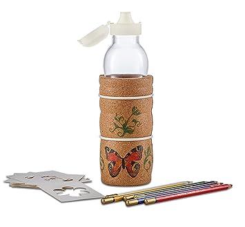 Diseño de natures Lagoena respetuoso con el medio ambiente niños botella de agua de la flor de la vida boca soplado sin plomo 500 ml: Amazon.es: Hogar