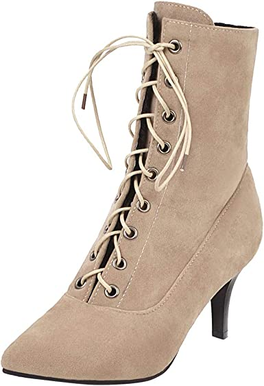 Dermanony Women's Pointed Toe Lace-up