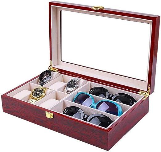 Cajas para relojes Madera De 6 Posiciones Caja De Reloj De Pintura 3 Vasos Caja Contador Exhibición De La Joyería Caja De Tarjetas Bufanda Caja De Presentación: Amazon.es: Hogar