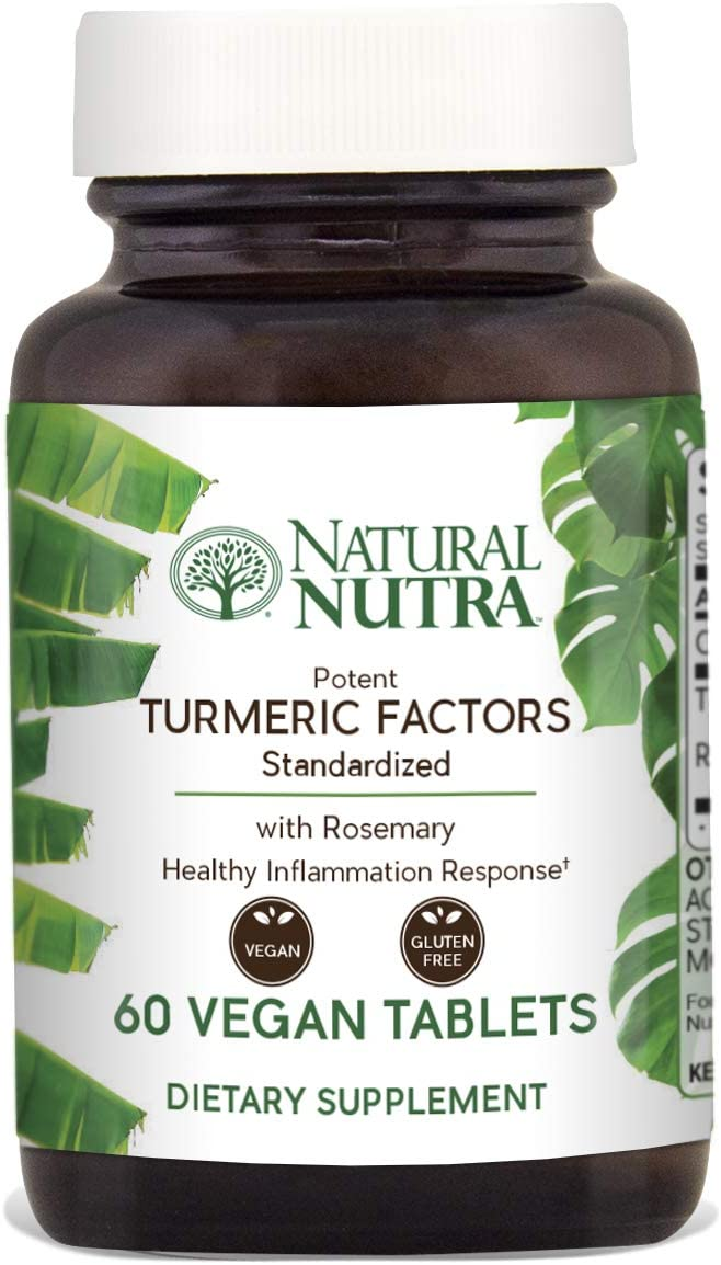 Natural Nutra Turmeric Curcumin with 95 Curcuminoids Extract, Max Potency Anti-Inflammatory Supplement with Rosemary for Brain Health, Calcium for Optimal Absorption, 350 mg, 60 Vegan Tablets