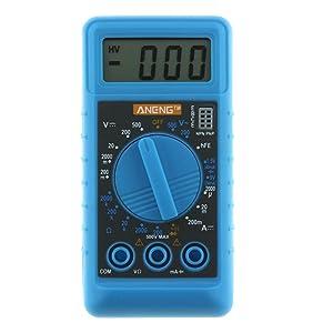 Amazingdeal365 Mini multímetro digital DMM Medidor de voltímetro de prueba OHM con zumbador (azul)