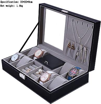 FIONAT Caja para Relojes Cajas para Joyas Hombre Viaje Mujer Regalo Caja De Almacenamiento De Joyas con Anillo De Cubierta Abatible De Techo Doble De Cajón - Sin Ventana 8 Reloj: Amazon.es:
