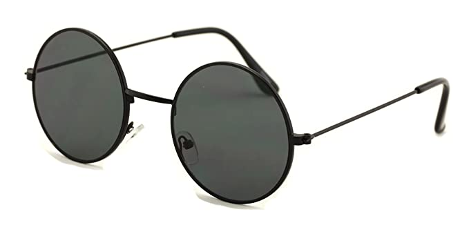 4ab61cbb38739 Casual Fashion Medium Round Circle Flat Lens Sunglasses Thin Frame Unisex  (Black