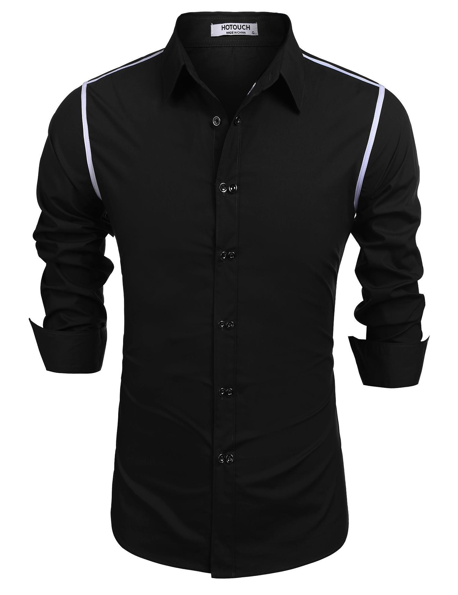 HOTOUCH Men's Standard-Fit Long-Sleeve Contrast Poplin Shirt,Black£¬XX-Large
