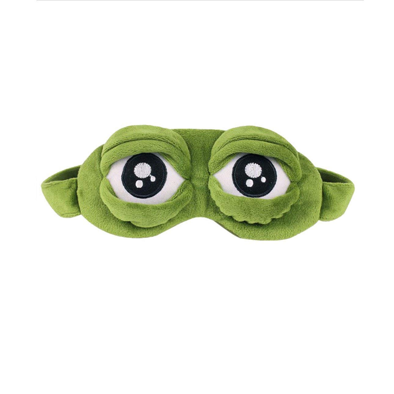 Liobaba Lovely Frogs Eyes Sleeping Eye Mask Elastic Bandage Eyeshade Cover Eyepatch Blindfolds For Flight Travel Office Night Sleep