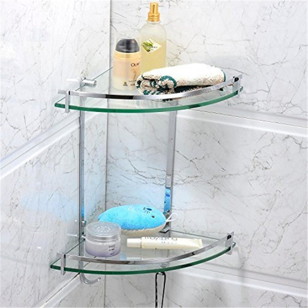 Leyden TM Solid Brass Wall Mounted Glass Double Corner Shelf with ...