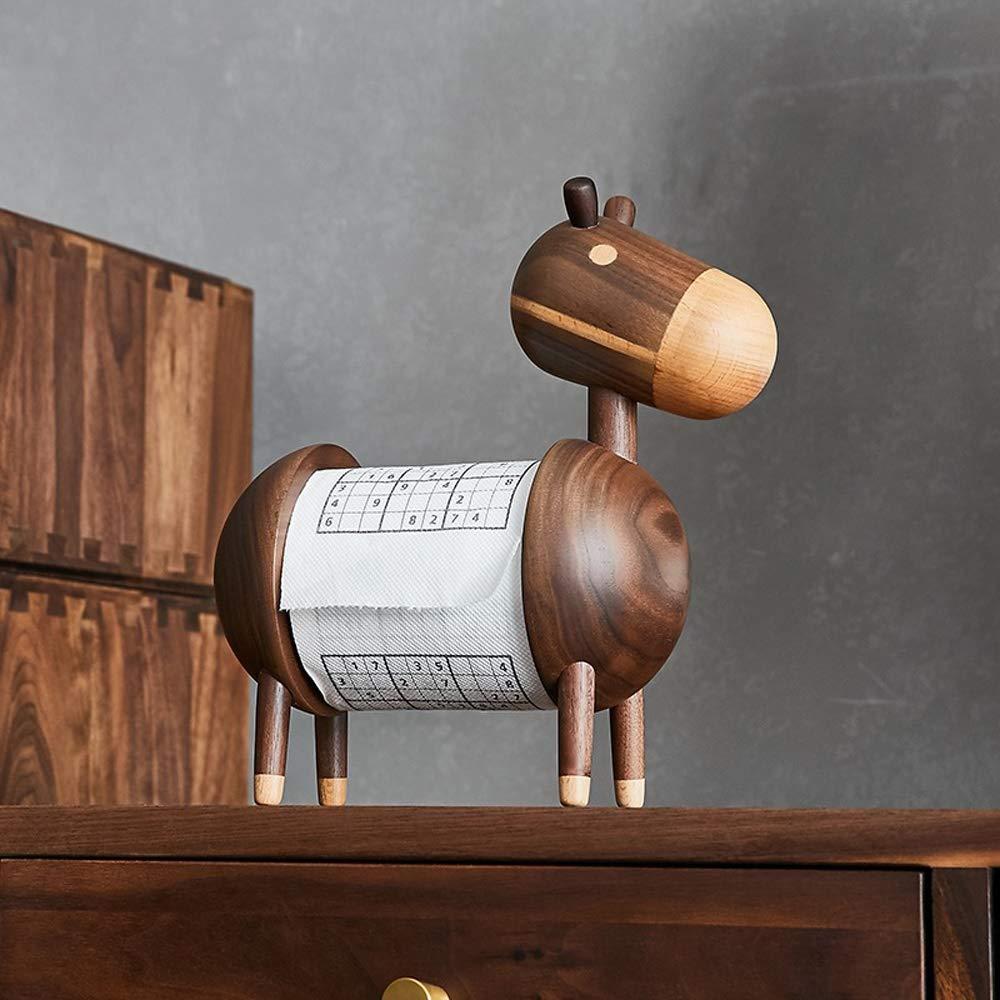Cartoon Little Donkey Toilet Paper Roll Holder Stand Solid Wood Household Toilet Paper Dispenser Adjustable Length 9-11cm -Home Hotel Office Shop Restaurant Decoration by Slivy