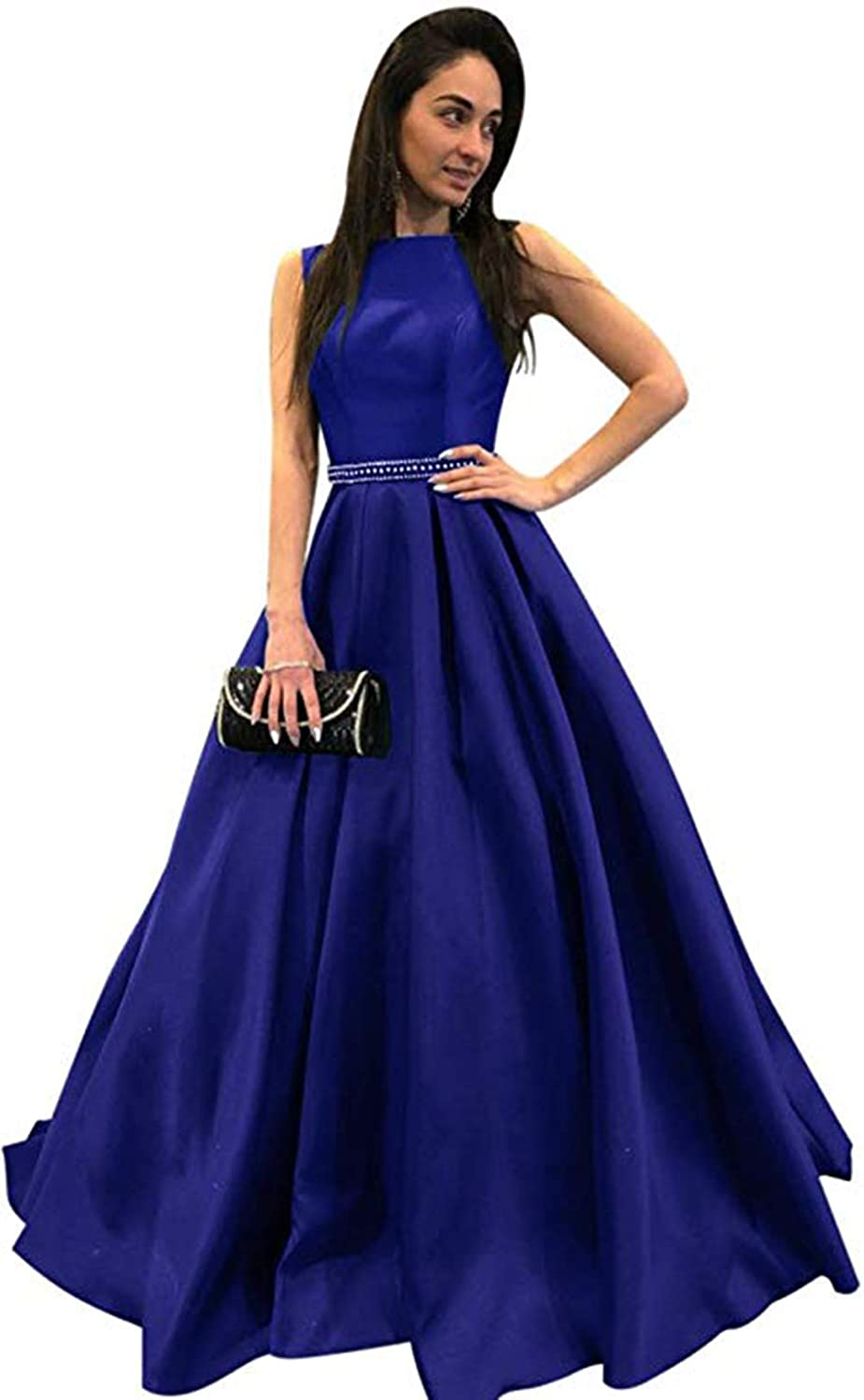 Royal bluee Ri Yun Womens Scoop Neck Long Prom Dresses 2019 Backless Beaded ALine Satin Formal Evening Ball Gowns with Pockets