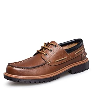 Rismart Men's Top Quality Genunine Cow Leather Lace-Ups Low Chunky Heel Casual Leather Oxfords Shoes Brown SN150 US8.5