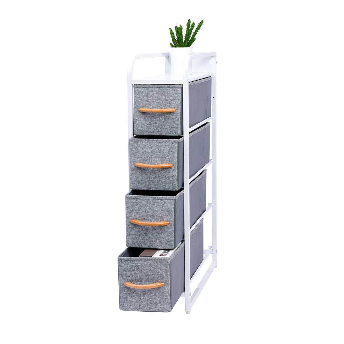 4 TIER Dresser Tower Clothes Organizer Metal Frame Features Wooden Tabletop US