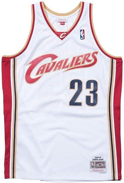 Mitchell & Ness LeBron James #23 Cleveland Cavaliers 2003-04 Swingman NBA - Camiseta de manga corta, diseño de Cleveland Cavaliers, color blanco