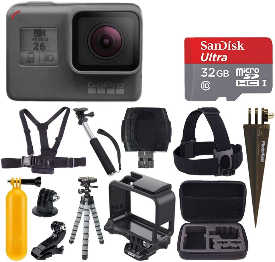 GoPro HERO6 Black + SanDisk Ultra 32GB Micro SDHC Memory Card + Hard Case + Chest Strap Mount + Head Strap Mount + Flexible Tripod + Extendable Monopod + Floating Handle - Great Value Accessory Bundle
