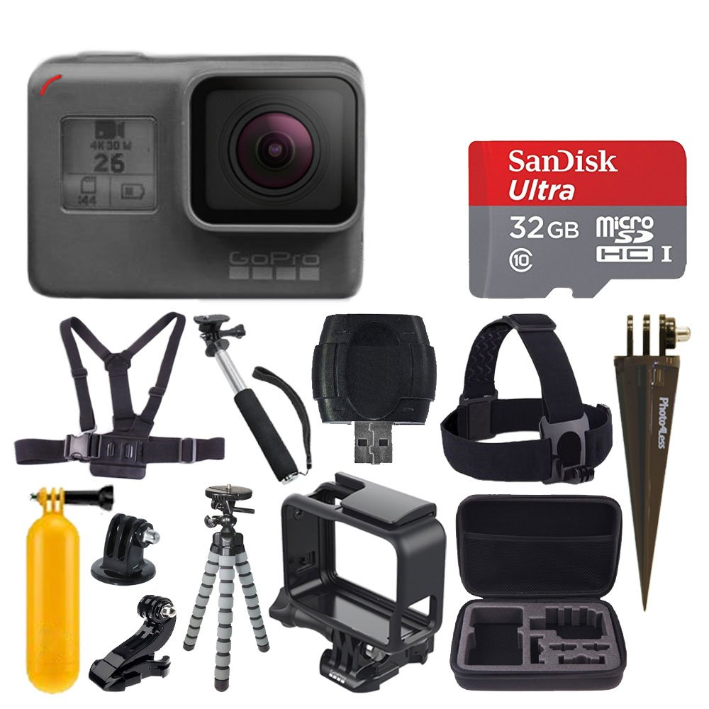 GoPro HERO6 Black + SanDisk Ultra 32GB Micro SDHC Memory Card + Hard Case + Chest Strap Mount + Head Strap Mount + Flexible Tripod + Extendable Monopod + Floating Handle + Great Value Accessory Bundle by PHOTO4LESS