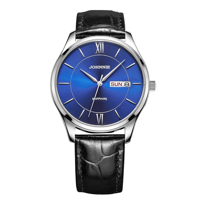 Johnnie Herren Klassische Quarz-Uhren mit Edelstahl Fall - Schwarz Komfortable Echt Leder Gurt Handgelenk Band