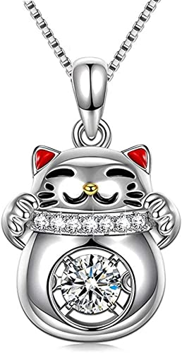 """Sterling Silver Cute /""""Lucky Cat/"""" Pendant Necklace 18K White Gold Plated Necklace"""