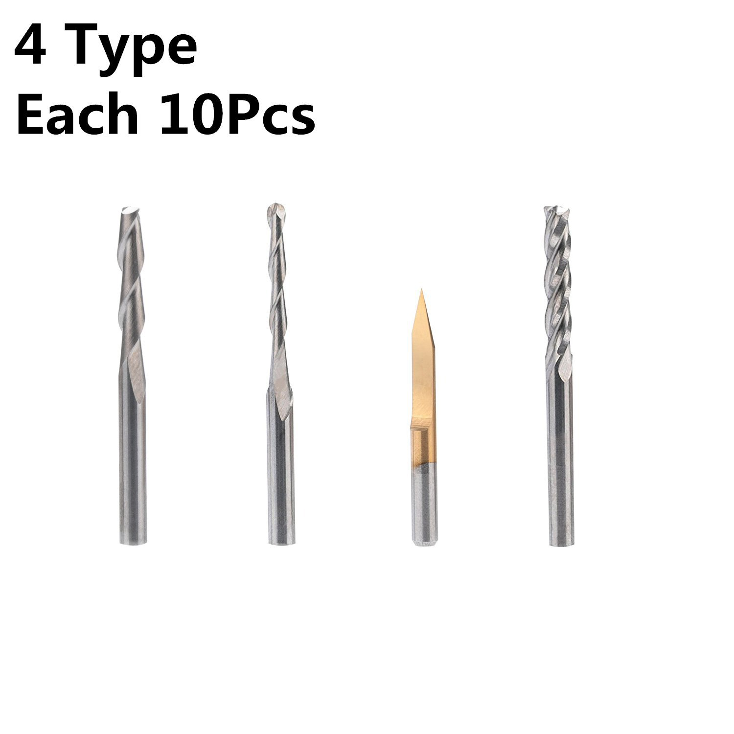 HQMaster End Mill Combination Kit Set CNC Router Bits Cutter Cutting Milling Tool (4 Type, Each 10Pcs) Including Flat Nose/Ball Nose End Mill, 30° V-shape Engraving Bits and 4 Flutes End Mill by HQMaster (Image #1)