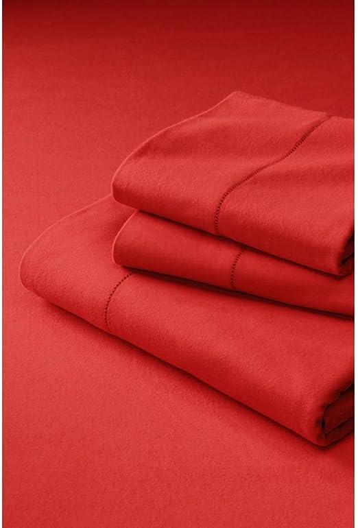 Amazon Com Lands End 6 Ounce Supima Flannel Sheet Set K Crimson Clay Home Kitchen