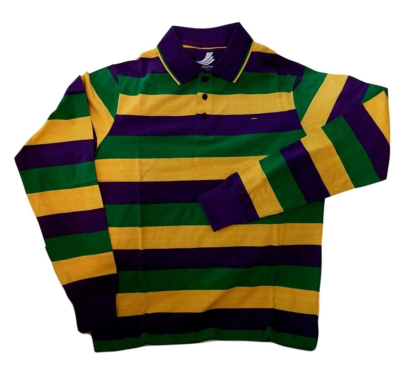 49e42813 Amazon.com: Adult XLarge XL Mardi Gras Rugby Stripe Purple Green Yellow  Long SLV Shirt: Clothing